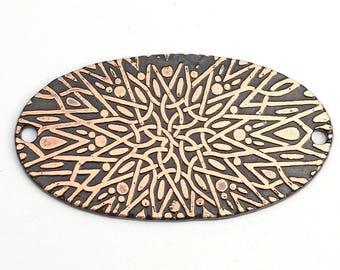 2 hole copper mandala component, star, flat metal long oval bracelet link, 35mm