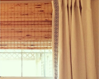 Custom Lined Linen Drapes with Greek Key Trim - Pick any linen with any trim