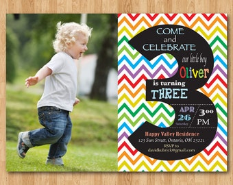Rainbow 8th Birthday Invitation with photo Eighth Colorful