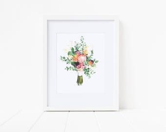 Floral Art Print, Peach and Green, Art Print, Gifts Under 20, Wall Decor, Gallery Wall Art, Dorm Decor, Gift for Her, Mother's Day Gift