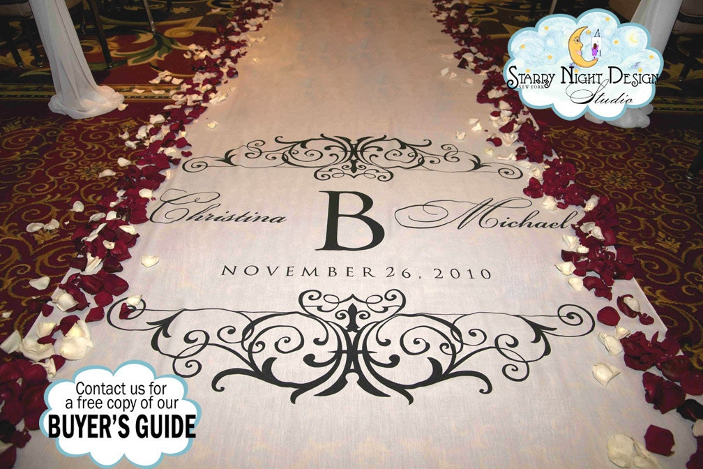 White Carpet Aisle Runner Personalised With Gold And Later Used As ...