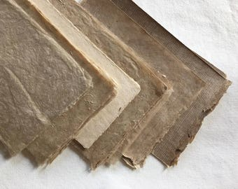 Dark Naturals- small pieces natural brown mixed textured paper, sample pack, Bhutanese, Nepalese handmade lokta paper, plant fibre paper