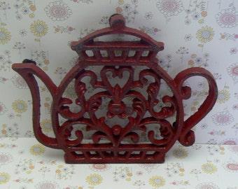Teapot Cast Iron Trivet Hot Plate Red Shabby Chic Kitchen Decor