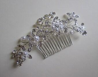 Wedding hair comb, Swarovski elements, Crystal and Pearl Bridal hair comb, Wedding hair jewelry, Bridal hair piece, Wedding hair piece