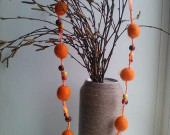 FELTED ORANGE  Beads, Felted Necklace, Felted Accessory, Gifts for Her, Needle Felted Beads, orange Neclace, orange Beads  Halloween