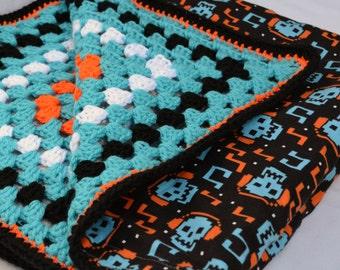Digital skull crochet baby blanket, granny square reversible crochet baby blanket