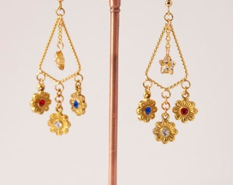 Gold Earrings w/Red, White & Blue Flower dangles