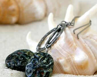 Hypoallergenic - Titanium Earrings - Pure Titanium Earrings - Hypoallergenic - Dangle Earrings - Beaded Earrings - Black Earrings