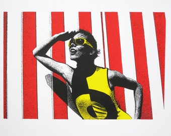120 : Swinging 60's Girl at the Beach - limited edition screenprint