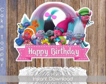Trolls Cake Topper Trolls Digital Cake Topper Trolls Printable Cake Topper Trolls Birthday Trolls Cake Decoration INSTANT DOWNLOAD
