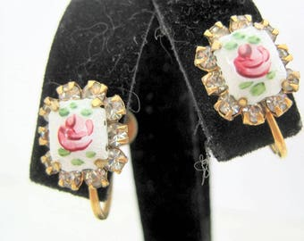 Guilloche Rose Earrings, White Enamel, Pink Rose, Rhinestone Edged