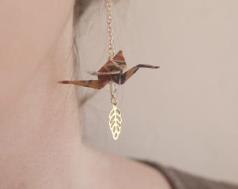 Origami birds Earrings - Taupe & Opale