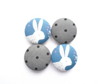 Bunny Magnets, Polka Dot Magnets, Easter Magnets, Woodland Magnets, Nursery Magnets, Blue Magnets, Grey Magnets, Handmade Magnets