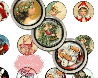 80% off Mothers Day Sale Vintage Sweet Christmas Tags Card Digital Collage 30mm Round Circles Printable Images Digital Collage Sheet Jewelry