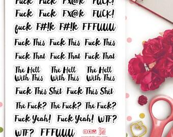 Rude Funny Swear Words Brush Lettering Planner Stickers |  Life Planner | Kikki K | Filofax |