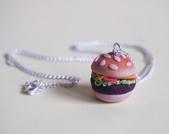 Hamburger Necklace food necklace ( mini food jewelry funny jewelry fast food necklace miniature hamburger miniature necklace food miniature)