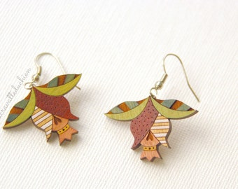 Flower buds dangle earrings, Wooden flower earrings,  Spring jewelry, gift for her