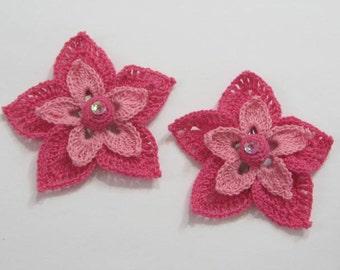 Fuchsia Flower Hair Clip set of 2, Flower Girl Hair Pin, Bridal Hair Flower, Bridesmaid Flower Clips, Girls Hair Clip, Baby Girl Hair Clip