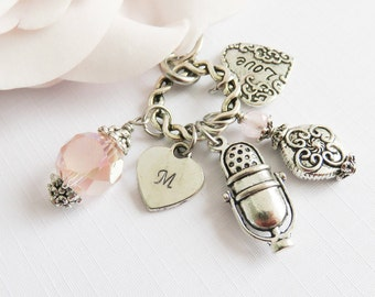 Personalized microphone keychain, singer bag charm, initial keyring, retro keychain, gift for music lover, gift for her