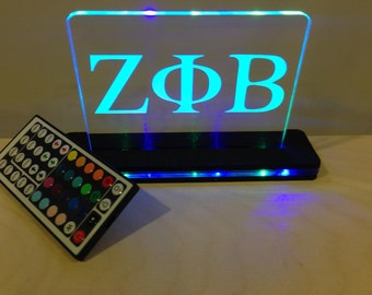 "Custom Fraternity or Sorority LED Edge Lit Acrylic Laser Engraved and Cut Sign 6""x6"" or 8""x10"" Lighted Acrylic Base With Remote"