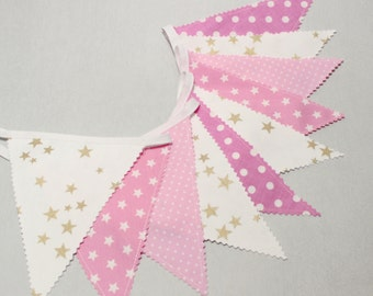 Pink Gold Bunting, Fabric Bunting Flags,  Baby Garland , Pennant Banner, Girl's Nursery, Baby Shower, Baby Girl Nursery Decor