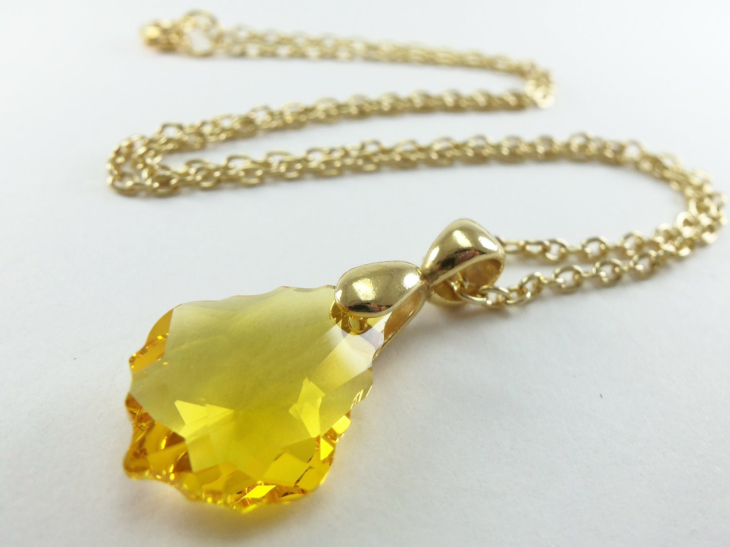 Yellow crystal necklace gold jewelry yellow crystal gold zoom mozeypictures Choice Image