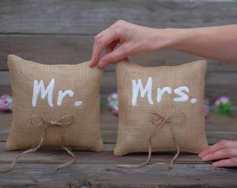 Wedding Ring Bearer Pillows. Mr and Mrs Pillows. Wedding Ring Pillows. Mr & Mrs pillows. Embroidered Pillows. Wedding Pillows burlap rings