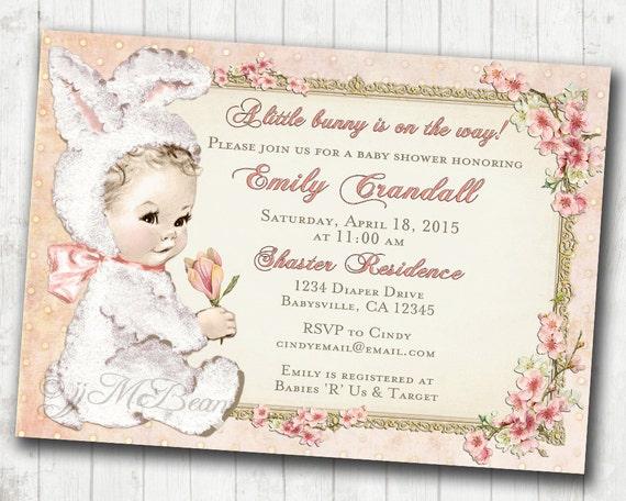 Easter Baby Shower Invitation for Girl Vintage Bunny DIY