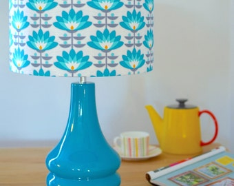 Teal Blue Retro Flower Ceramic Table Lamp