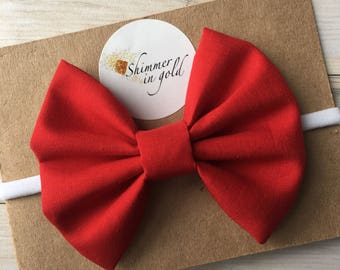 Classic Crimson Red Baby Bows , Red Fabric Baby Bow , Mini Bows , Hand Tied or School Girl Red Bow for Babies or Toddler on headband or clip