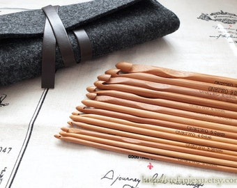 Sewing Support - Bamboo Crochet Hook Set Black Wool Felted Clutch Organiser (1 Pack, 12PCS Hooks With Wool Felted Bag)