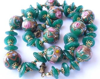 Vintage Wedding Cake Necklace, 1950s Venetian Glass Beads, Green Pink Aventurine Murano Jewelry