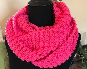 Hand Knit Infinity Scarf - Fuschia