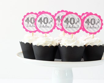 40th Birthday Party Cupcake Toppers Neon Pink Grey Stripe Cupcake Toppers Hot Pink Party Supplies 40 and Fabulous Birthday Gray / Set of 12