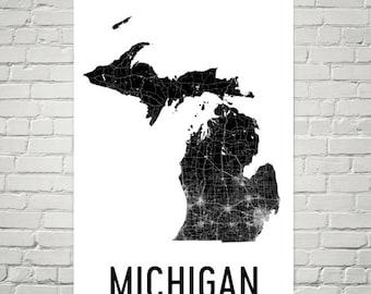 Michigan State, Michigan Gifts, Michigan Art, Michigan Map, Michigan Print, Michigan Wall Art, Michigan Sign, Decor, Poster, Map of Michigan