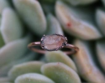 Sunstone   Dainty Sunstone Ring   Raw Sunstone   Sunstone Ring   Peachy Sunstone   Raw Mineral Ring   Copper Ring   Ready-To-Ship