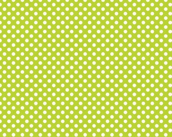 04403 - Riley Blake LeCreme small dots  in Lime color cotton fabric - 1 /2  yard