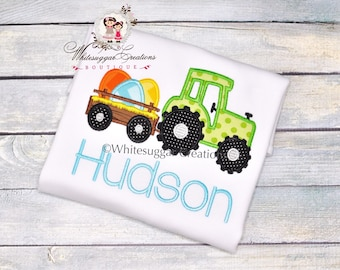 Boy Easter Trailer with Eggs Shirt - Custom Easter Tractor Shirt - Boys Easter Shirt, Embroidered, Personalized, Applique, Monogrammed