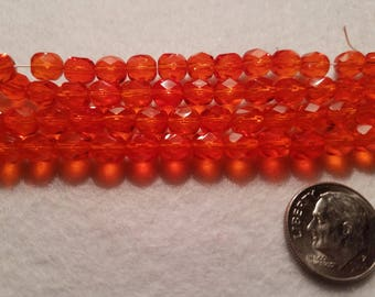 50 6mm Hyacinth Orange Czech Glass Faceted Firepolish Beads