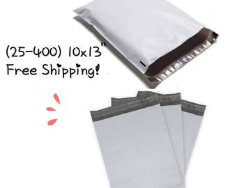 "FREE SHIPPING! (25-400 Pack)  10x13"" White Poly Mailers"