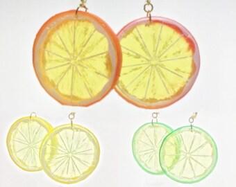 Citrus Dreams / Lemon / Lime / Orange Slice Faux Food Fun Dangle (Latch Hook)  Earrings SALE!