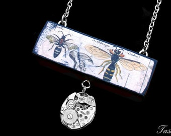 Steampunk Wooden Bee Pendant Necklace, Vintage Long Silver Watch Movement Pendant, Boho Jewelry