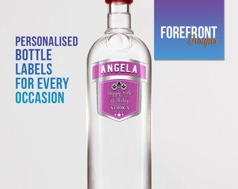 Personalised Pink Vodka bottle label-Ideal Celebration/Birthday/Wedding gift personalized bottle label