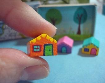 Miniature House Set Micro Mini Tiny City Teeny Tiny Village Cute Play Set in a Box Special Keepsake Gift