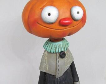 HALLOWEEN Folk Art Pumpkin man with JOL by Janell Berryman Pumpkinseeds