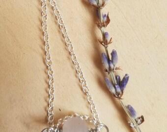 Rose Quartz Necklace ~ Sterling Silver Rose Quartz Necklace ~ Crystal Stone Jewelry ~ Pink Stone Jewelry ~ boho Meditation Crystal Necklace