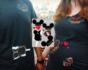 Couple's Maternity Pregnancy Mickey Ears Transfer File for Disney themed T-shirts