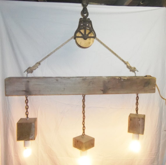 Items Similar To Rustic Light Pendant Lighting Pulley On Etsy: Reclaimed Barn Beam And Pulley 3 Light Chandelier