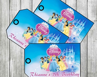 Disney Princess Thank you Tags, Favor Tags PERSONALIZED DIY PRINTABLE
