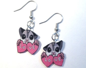 Handcrafted Plastic Sugarglider Sugar Glider LOVE Earrings SO CUTE New! sug1234